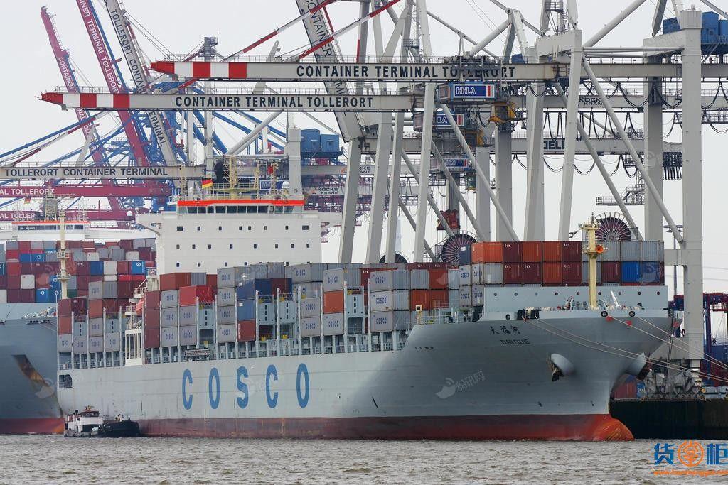 中远海Tian Fu He(天福河)5059TEU集装箱船搁浅5天,船期延误
