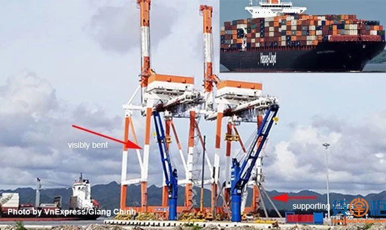 NAGOYA EXPRESS集装箱船与龙门吊相撞,被扣近两周仍锚泊码头