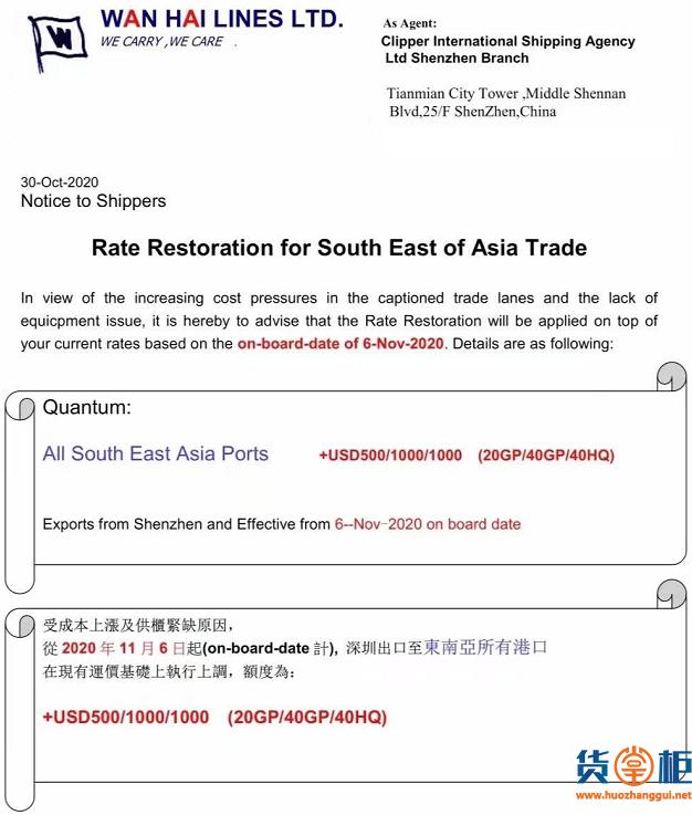 欧线美线继续维持高位,东南亚暴涨1000USD!全航线涨价!