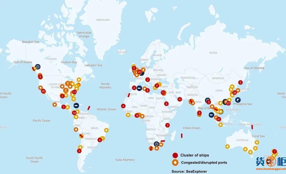 拥堵恶化!全球116个港口拥堵328艘船舶受影响!拥堵和运费上涨将持续到明年上半年